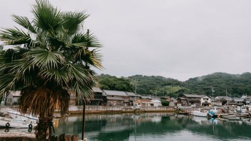 Manabeshima port village in rainy season, Okayama, Japan