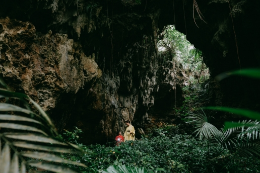 Limestone cave in Japanese jungle, Kume Island, Okinawa