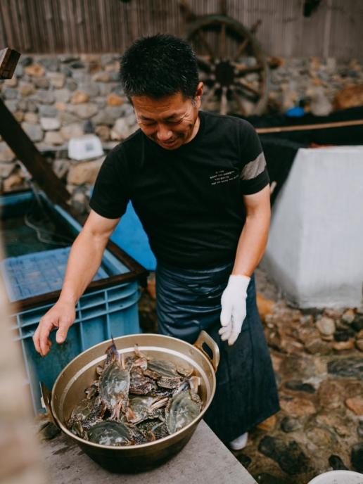 Dinner preparation at Santora, Manabeshima Island, Japan