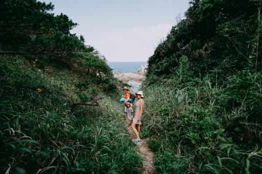 Forest path to a secret beach of Shikine Island, Tokyo