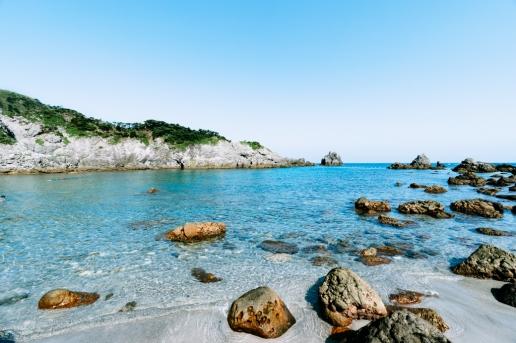 Clear water beach of Shikine-jima Island, Tokyo