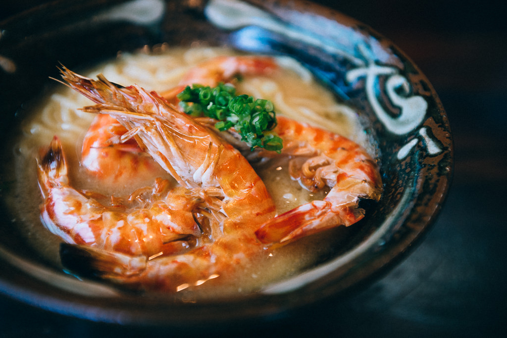 Okinawa soba noodle with Japanese tiger prawn, Ishigaki Island