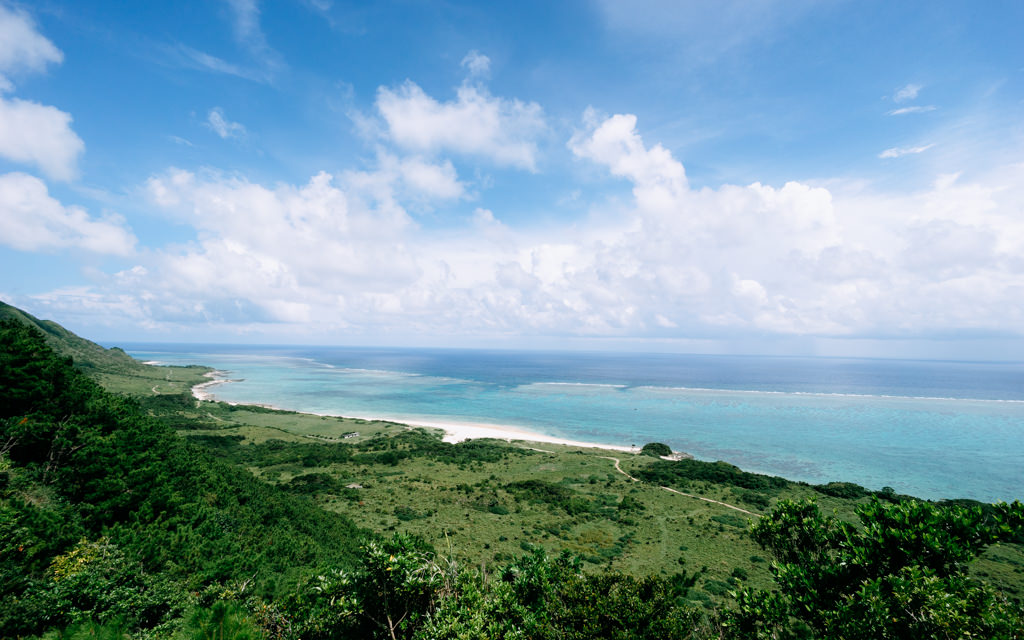 Tropical Japanese island with fringing coral reefs, Ishigaki-jima