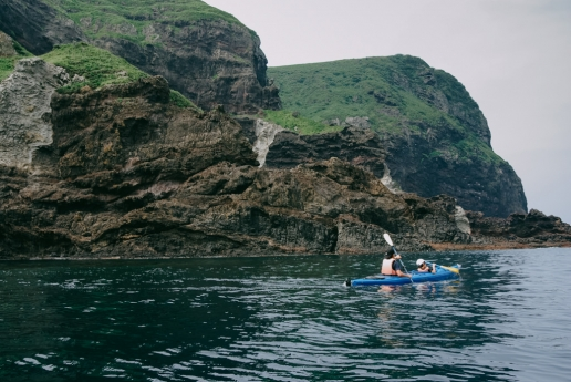 Sea kayaking around Nishinoshima of the Oki Islands, Shimane, Japan