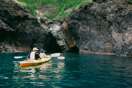 Sea cave kayaking, Nishinoshima Island of the Oki Islands, Shimane, Japan