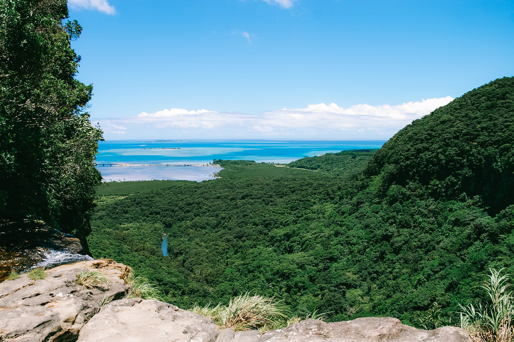 Jungle and coral reefs of Iriomote Island from above