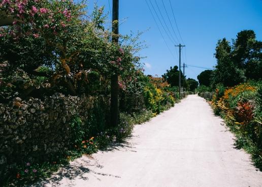 Ancient village street on Taketomi Island of the Yaeyama Islands, Okinawa, Japan