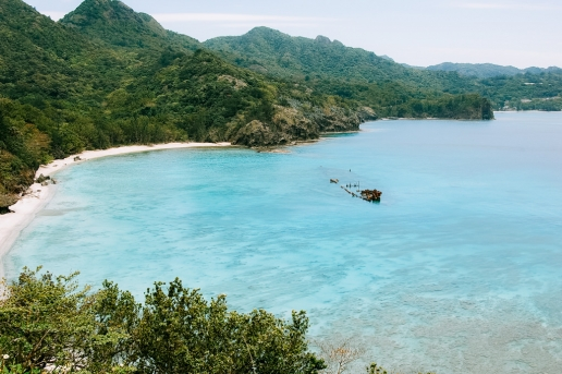 WWII shipwreck and beautiful tropical beach of Ogasawara Islands, Japan