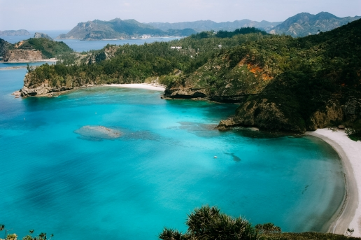 Scenic tropical beach of remote Tokyo, Ogasawara Islands, Japan