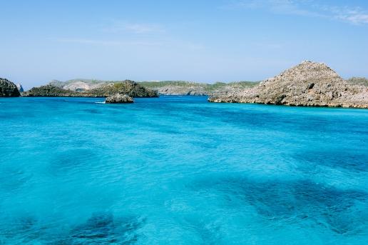 Clear blue lagoon water of Tokyo's tropical islands, Ogasawara, Japan
