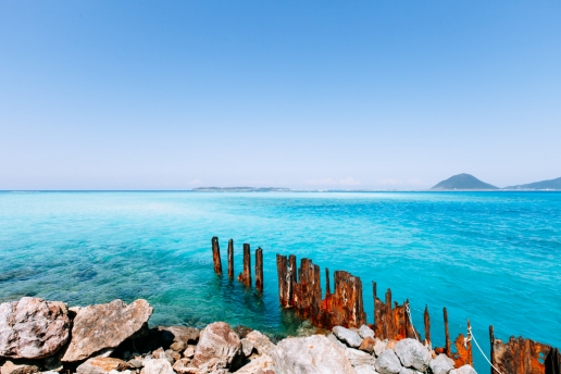 Clear tropical sea of southern Japan, Gushikawa Island, Okinawa