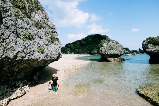 Southern Japanese beach in winter, Okinawa