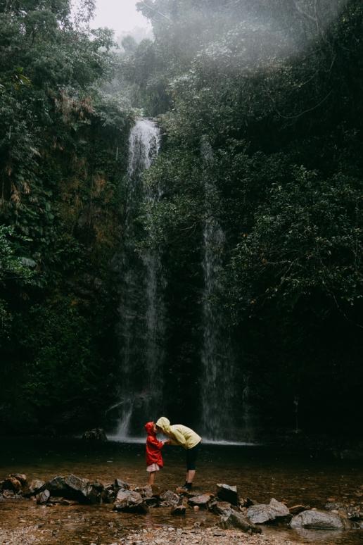 Okinawa jungle waterfall in rain, Japan
