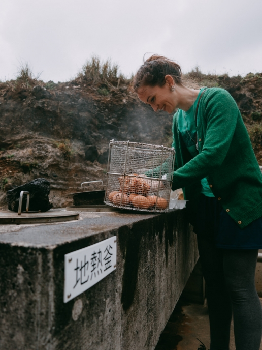 Cooking with steam from the volcano, Aogashima Island, Tokyo