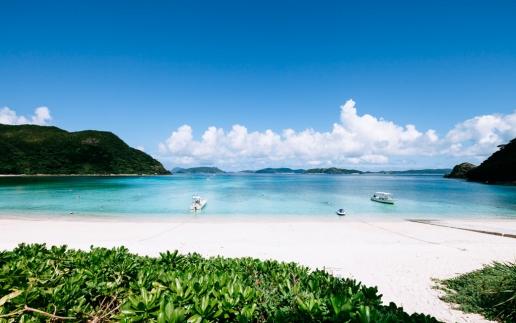 White sand tropical beach in Southern Japan, Kerama Islands National Park, Okinawa