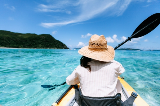 Kayaking on clearest tropical water, Kerama Islands, Okinawa, Japan
