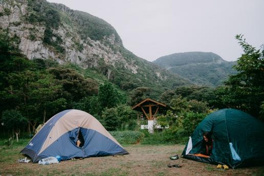 Kozushima camping at the beautiful campsite, Tokyo