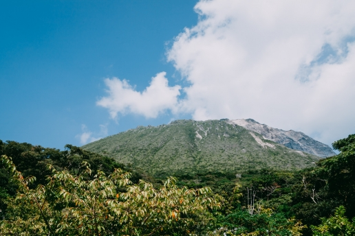 Beautiful view of Mt. Tenjo from the campsite of Kozushima Island, Tokyo