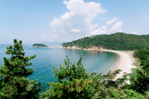 Beautiful beach on Naoshima Island, Kagawa, Japan
