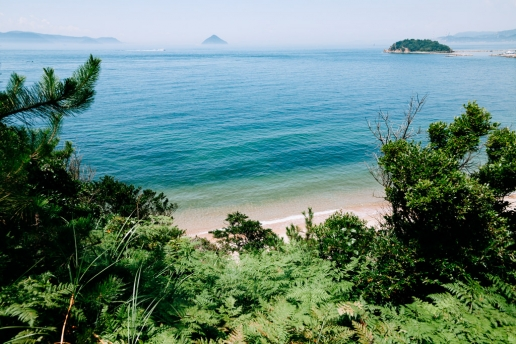 Beautiful beach of Naoshima with calm water of Seto Inland Sea, Japan