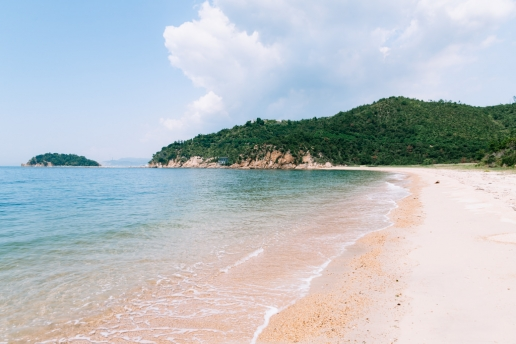 Beautiful beach of Naoshima Island, Kagawa, Japan