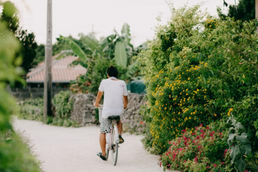 Cycling on Taketomi Island of Yaeyama, Okinawa, Japan