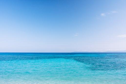 Clear blue coral sea of Hateruma Island, Okinawa, Japan