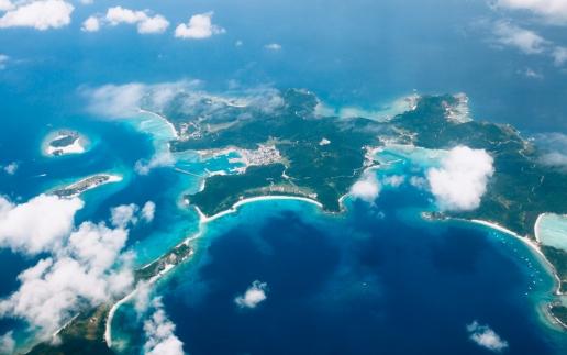 Aerial view of Japanese tropical islands, Kerama, Okinawa