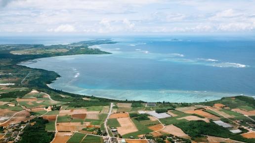 Aerial view of Japanese sugarcane fields, Miyakojima, Okinawa