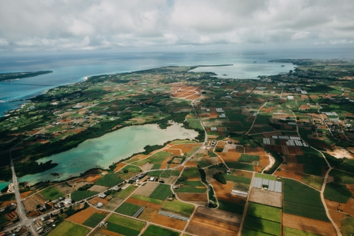Aerial view of Japan's sugarcane patchwork fields, Miyakojima, Okinawa