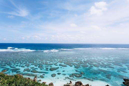 Fringing coral reef of Japan with warm tropical water, Miyako Island, Okinawa