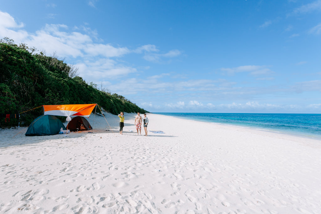 Tropical beach camping on Kurima-jima of the Miyako Islands, Okinawa, Japan