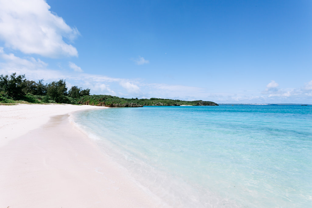 White sand tropical beach of southern Japan, Miyako-jima Island, Okinawa