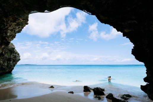 Warm tropical water and white sand beach of Japan, Miyako-jima Island, Okinawa