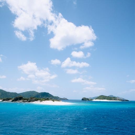 Scenic view of Kerama Islands from ferry, Okinawa, Japan
