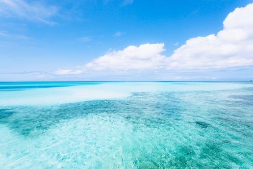 Idyllic tropical water of southern Japan, Miyako-jima Island, Okinawa