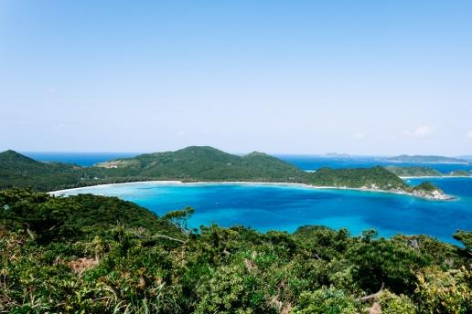 Scenic coastline view of a subtropical Japanese island, Zamami, Okinawa