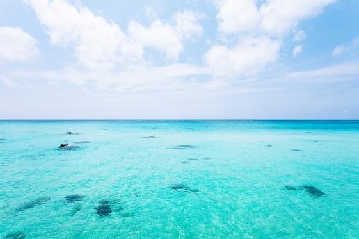 Clear blue tropical water of southern Japan, Shimoji Island, Okinawa