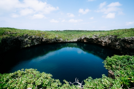 Blue hole connected to the sea by underwater cave, Shimoji Island, Okinawa