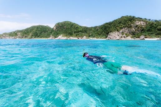 Snorkeling in clearest water of Tropical Japan, Zamami Island, Okinawa