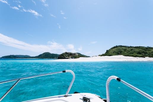 Water taxi ride to a beautiful deserted island of Tropical Japan, Kerama Islands, Okinawa