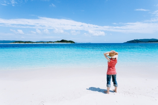 Scenic view of Japanese tropical islands and clear coral sea, Kerama Islands, Okinawa