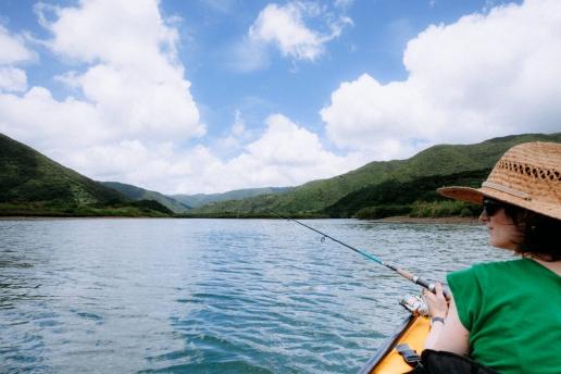 Kayak fishing in mangrove river, Amami Oshima, Kagoshima, Japan