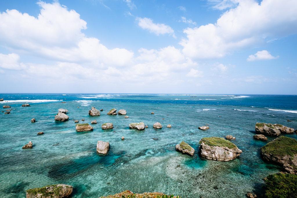 Rocks brought in by massive tsunami, Miyako-jima Island, Okinawa, Japan