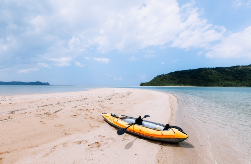 Exploring deserted tropical islands by kayak, Iriomote-jima, Okinawa, Japan