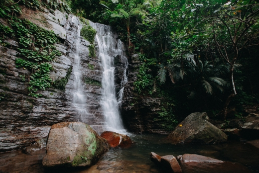 Beautiful waterfall in jungle of Tropical Japan, Iriomote Island, Okinawa