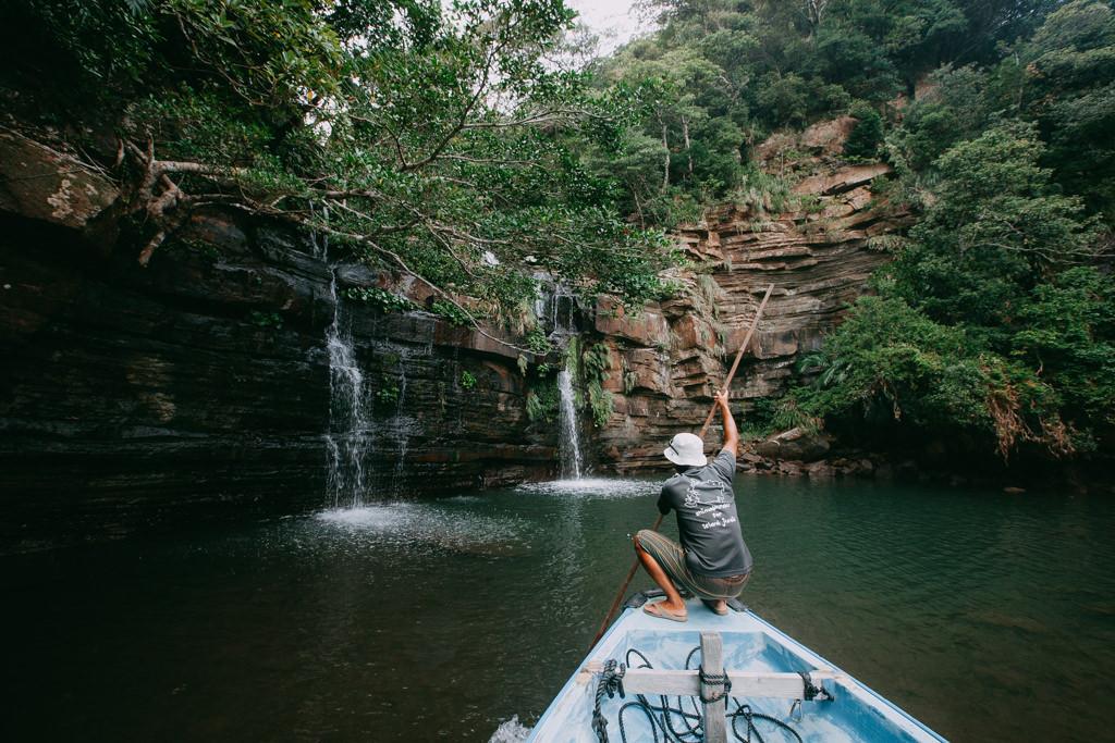 Waterfall at the end of mangrove river, Iriomote Island, Okinawa, Japan