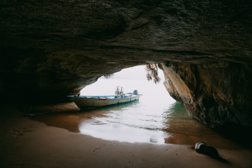 Exploring sea cave of Iriomote Island, Okinawa, Japan