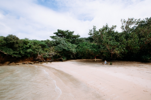 Lunch on a secluded beach of Iriomote Island, Okinawa, Japan