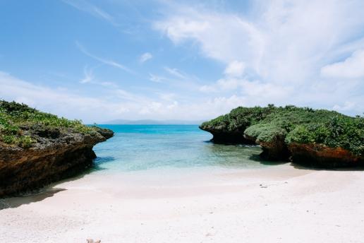 Deserted beach cove of tropical Japan, Yaeyama Islands, Okinawa